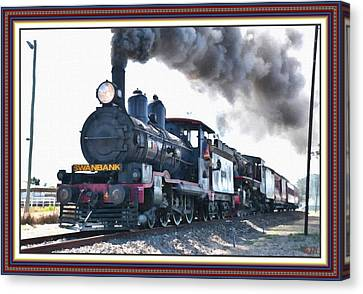 Oil Lamp Canvas Print - Steamtrain To Carltoncreekhurst L B With Decorative Ornate Printed Frame. by Gert J Rheeders