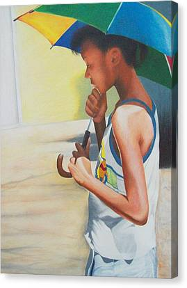 Stephanie With Umbrella Canvas Print by Sylvester Hickmon