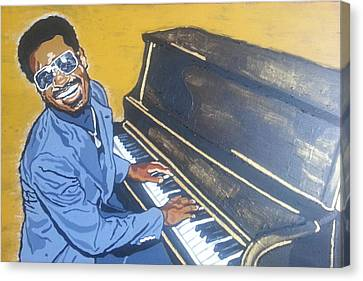 Stevie Wonder Canvas Print by Rachel Natalie Rawlins