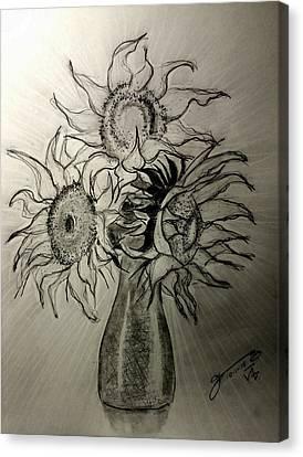 Still Life - Vase With 3 Sunflowers Canvas Print by Jose A Gonzalez Jr
