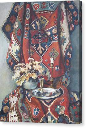 Canvas Print featuring the painting Still-life With An Old Rug by Tigran Ghulyan