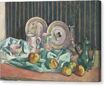 Still Life With Apples And Fruit Bowls Canvas Print by Emile Bernard