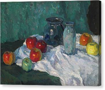 Still Life With Apples Canvas Print by Konstantin Ivanovich