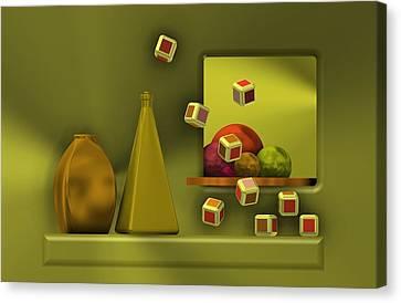 Future Tech Canvas Print - Still Life With Cubes by Alberto RuiZ
