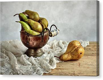 Still-life With Pears Canvas Print by Nailia Schwarz
