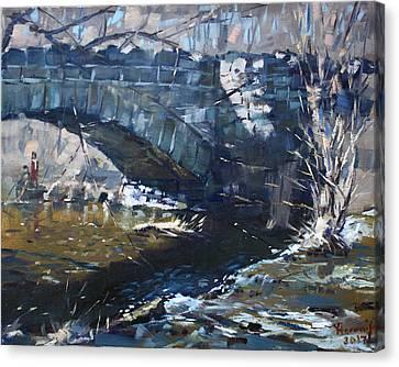 Stone Bridge At Three Sisters Islands Canvas Print by Ylli Haruni