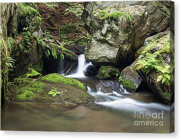 Canvas Print featuring the photograph Stone Guardian Of The Waterfalls - Bizarre Boulder On The Bank by Michal Boubin