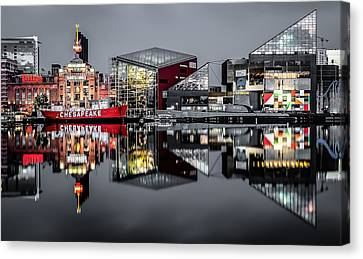 Stormy Night In Baltimore Canvas Print by Wayne King