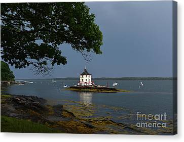 Stormy Weather With Views Of The Nubble Canvas Print by DejaVu Designs