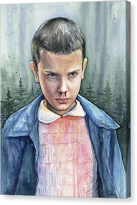 Stranger Things Eleven Portrait Canvas Print by Olga Shvartsur