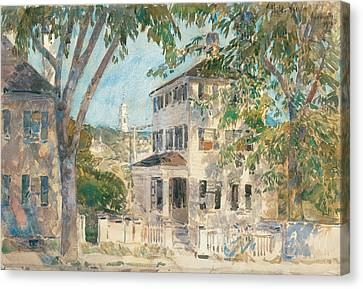 Street In Portsmouth Canvas Print by Childe Hassam