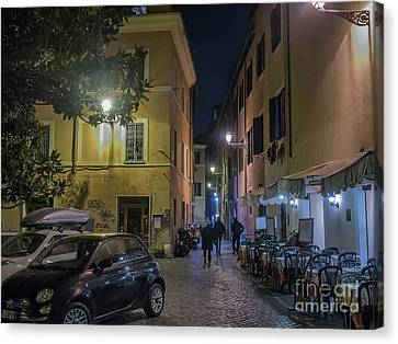 Street Scene From Trastevere District Of Rome, Italy Canvas Print