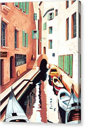 Streets Of Venice - Prints From Original Oil Painting Canvas Print by Mary Grden's Baywood Gallery