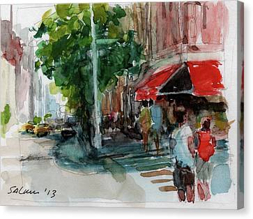 Streetscape With Red Awning - 82nd Street Market Canvas Print by Peter Salwen