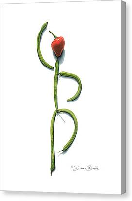 Canvas Print featuring the drawing Stringbean Chili Pepper Arabesque by Donna Basile