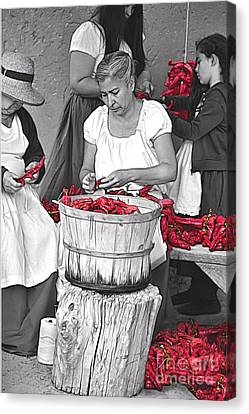 Stringing Ristras Canvas Print