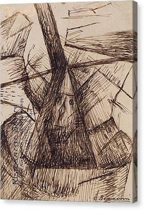 Boccioni Canvas Print - Study For Fusion Of A Head And A Window by Umberto Boccioni