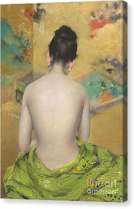 Study Of Flesh Color And Gold Canvas Print by William Merritt Chase