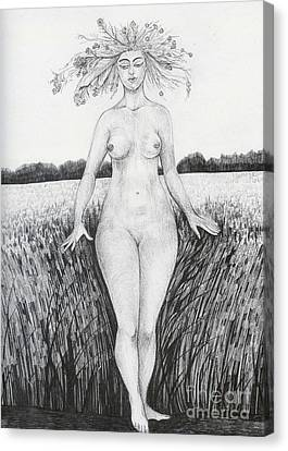 Canvas Print featuring the drawing Summer by Anna  Duyunova