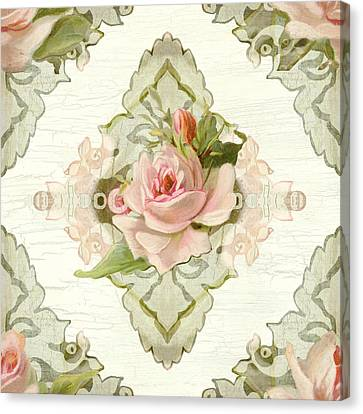 Summer At The Cottage - Vintage Style Damask Roses Canvas Print