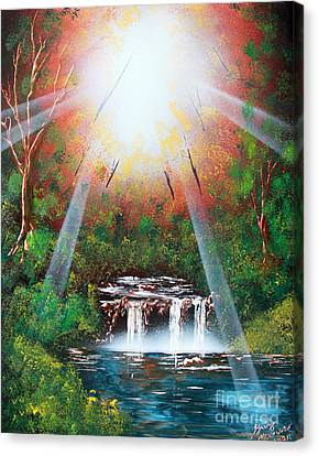 Canvas Print featuring the painting Sunbeam Falls by Greg Moores