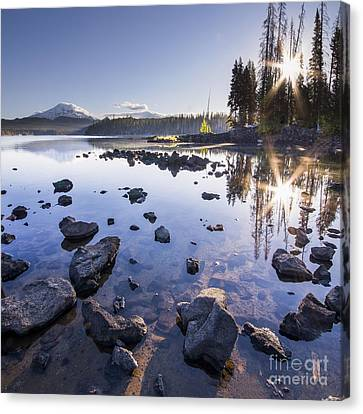 Sunburst Reflection On Elk Lake Canvas Print