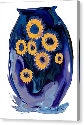 Canvas Print featuring the digital art Sunflower 1 by Rabi Khan