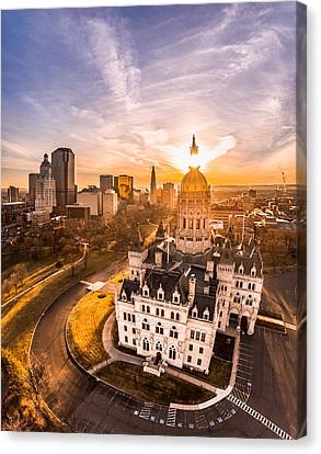 Sunrise In Hartford, Connecticut Canvas Print by Petr Hejl