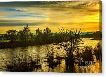 Sunrise On The Payette River Canvas Print by Robert Bales