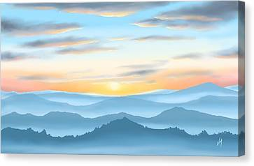Canvas Print featuring the painting Sunrise by Veronica Minozzi
