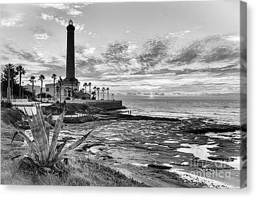 Canvas Print featuring the photograph Sunset At Chipiona Lighthouse Cadiz Spain by Pablo Avanzini