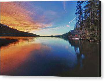 Sunset At Fallen Leaf Lake Canvas Print by Jacek Joniec