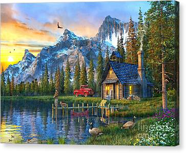 Sunset At Log Cabin Canvas Print