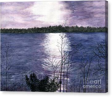 Canvas Print featuring the painting Sunset At Niagara River New York by Melly Terpening