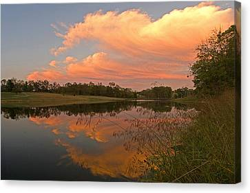 Sunset At The Pond Canvas Print by Ulrich Burkhalter