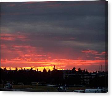 Sunset At Tumwater Canvas Print by Laurie Kidd