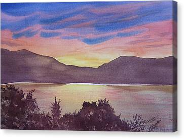 Canvas Print featuring the painting Sunset At Woodhead Campground by Joel Deutsch