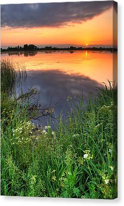 Sunset By The Lake Canvas Print by Jaroslaw Grudzinski
