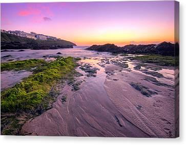Sunset By The Ocean Canvas Print by Jaroslaw Grudzinski