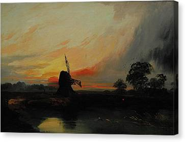 Sunset By The Windmill Canvas Print by MotionAge Designs