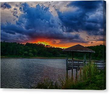 Canvas Print featuring the photograph Sunset Huntington Beach State Park by Bill Barber