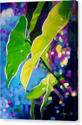 Philodendron Canvas Print - Sunset Leaves by Angela Treat Lyon