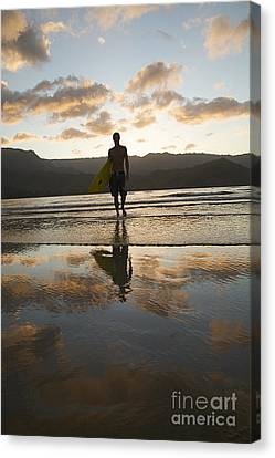 Sunset Surfer Canvas Print by Kicka Witte - Printscapes