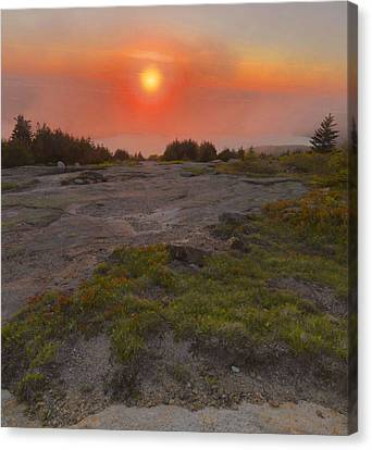 Canvas Print featuring the photograph Sunset Through Fog by Stephen  Vecchiotti