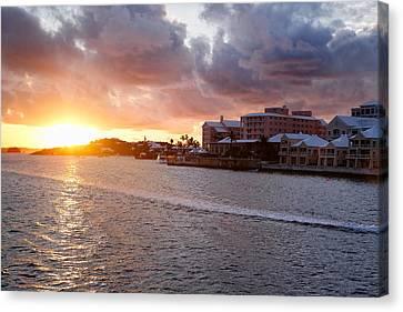 Sunset View Of Hamilton Bay Bermuda Canvas Print