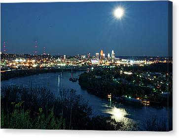 Super Moon Cincinnati River Canvas Print by Randall Branham