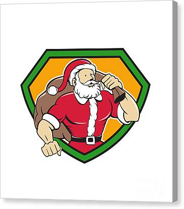 Father Christmas Canvas Print - Super Santa Claus Carrying Sack Shield Cartoon by Aloysius Patrimonio