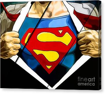 Super Heroes Canvas Print - Superman Collection by Marvin Blaine