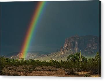 Canvas Print featuring the photograph Superstition Rainbow  by Saija Lehtonen