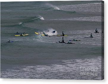 Canvas Print featuring the photograph Photographs Of Cornwall Surfers At Fistral by Brian Roscorla